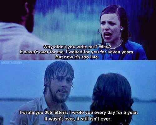 "When you give your heart to someone, it's not easy to let go. | 34 Lessons ""The Notebook"" Taught Us About Love"