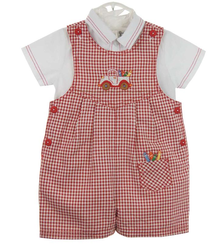 Red Checked Romper with Truck and Crayon Embroidery