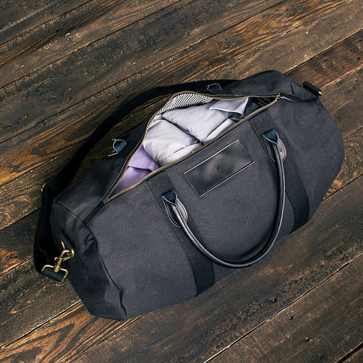 Personalized Black Canvas   Leather Duffle Bag A handsome weekender bag,  the Personalized Canvas   Leather Duffle Bag is perfect for the man on the  go. 05f0e7b400