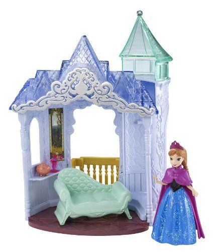 Disney Frozen Small Doll Anna Castle Playset  -Inspired by the hit new Disney animated film, Frozen. Girls will love reenacting their favorite scenes from the movie. This versatile palace is the perfect place for Anna to call home! Flip Anna's chaise into charming vanity or turn the castle around to reveal a balcony. Palace comes with adorable Anna doll in MagiClip fashion and accessories.-