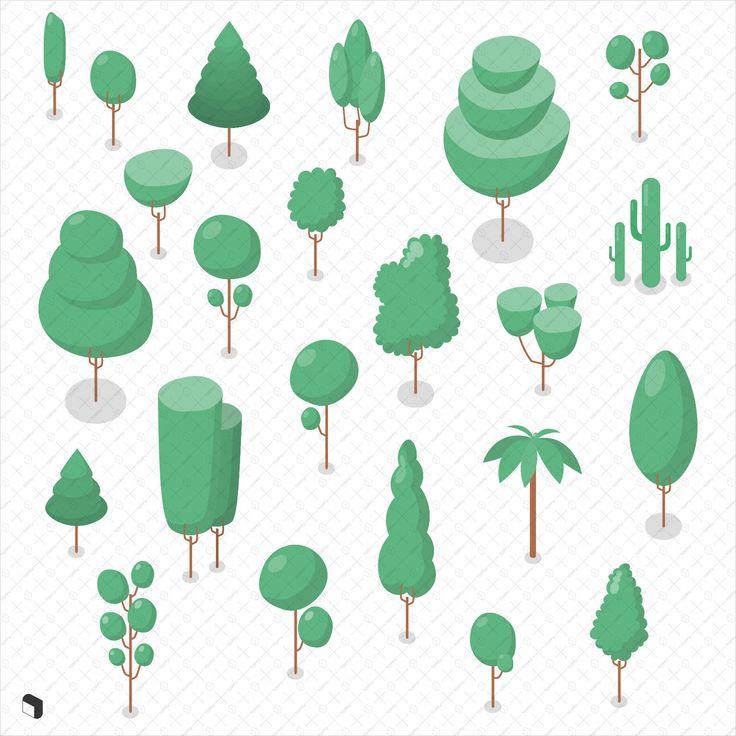 Download Isometric Trees | Isometric, Pixel art tutorial, Plant vector