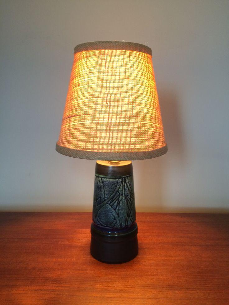 Small Desk Lamp Handmade Pottery w Burlap Style Shade