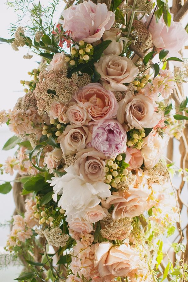 Blush and Rose Wedding Ceremony Flowers
