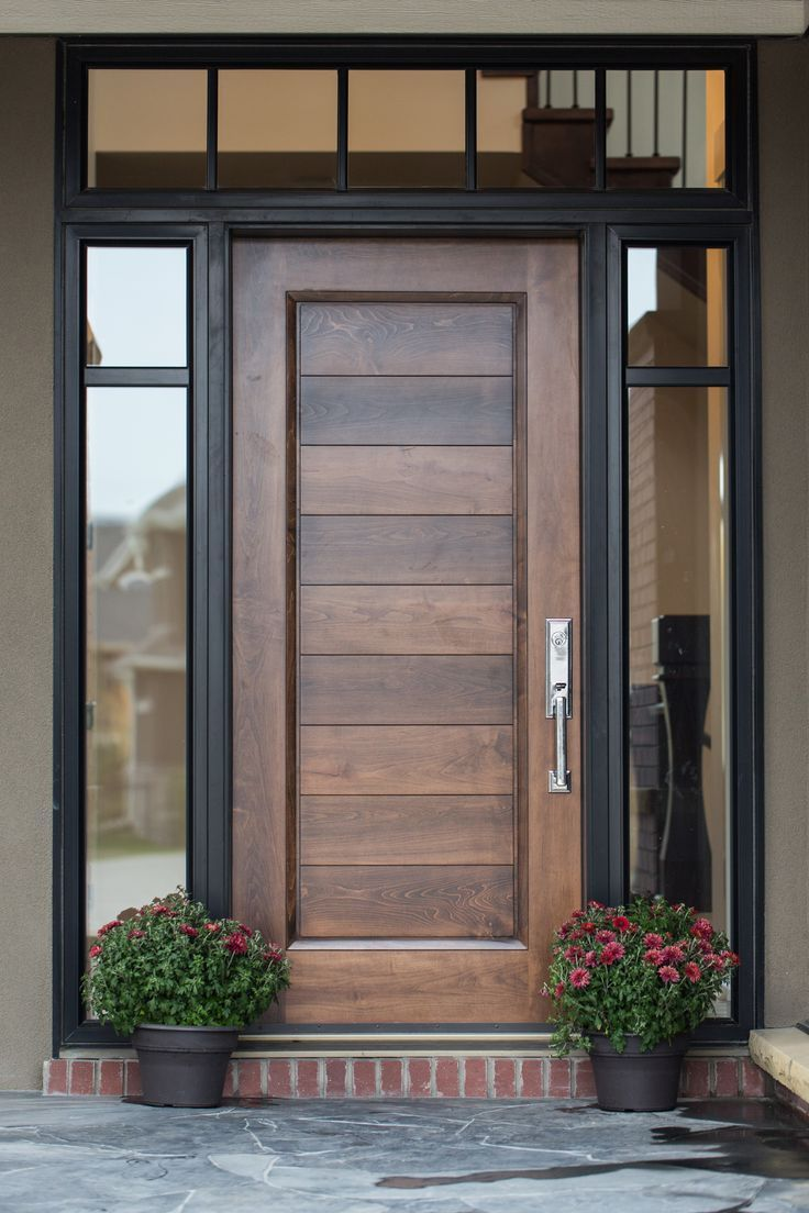 Rich Natural Wood Front Door With Surrounding Transom And Side Lights In Black Modern Tradition Beautiful Front Doors Door Design