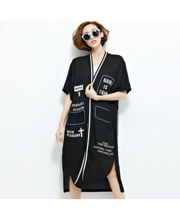 Letter printed long cardigan A7227