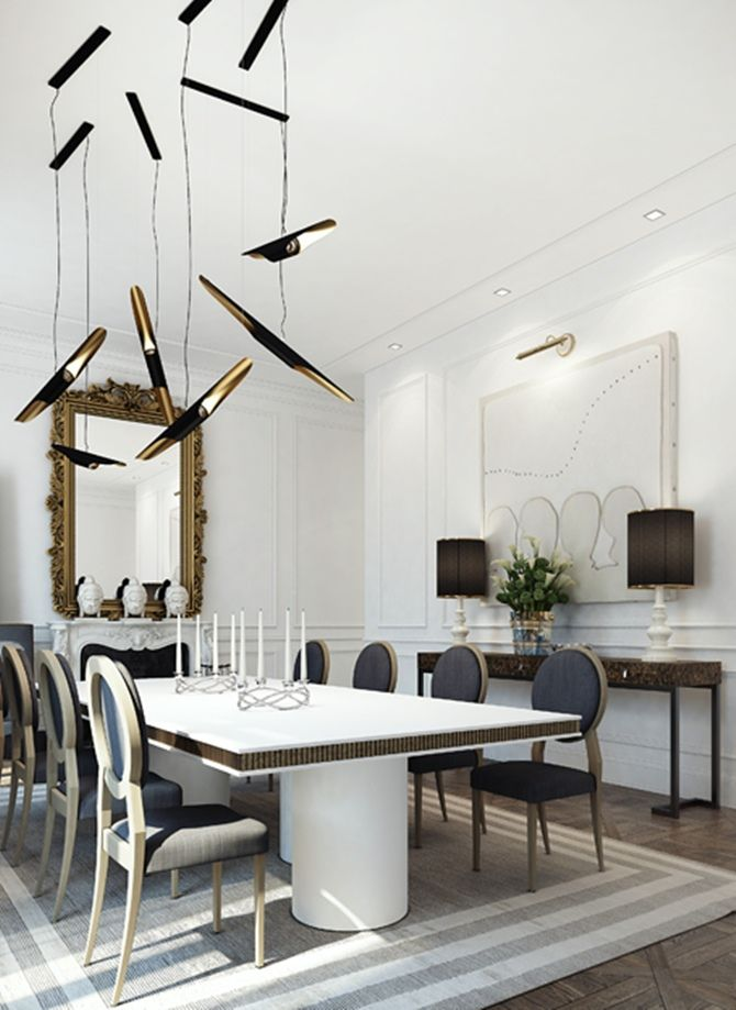 Sublime combination between the classic mirror and the bold pendant light. Apartment in Saint Germain in Paris.