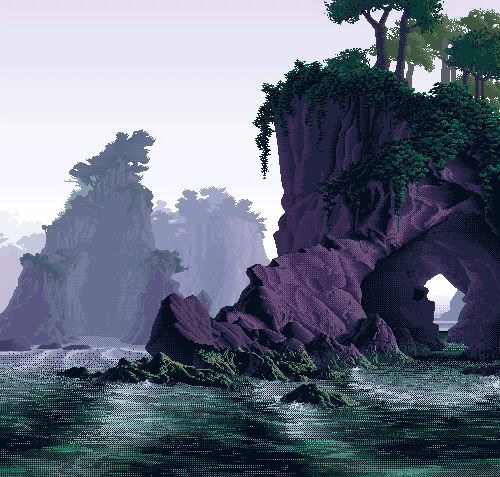 ocean and world, pixel art