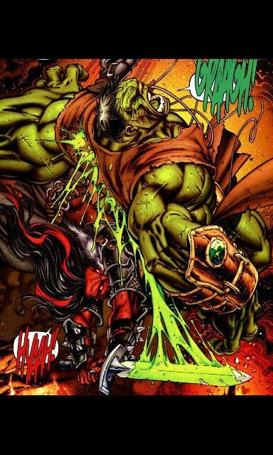 Red She Hulk attacking Hulk