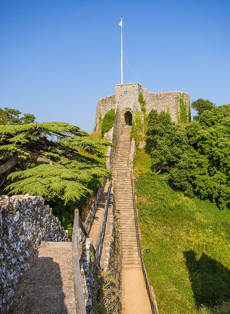 seventy-one steps lead up to the 12th century Keep of Carisbrooke Castle on the Isle of Wight