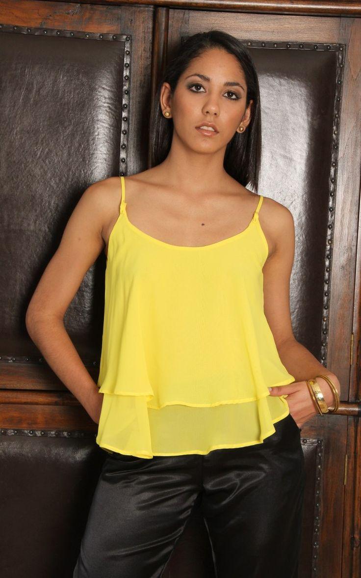 Blusas De Chiffon Crop Top Unicolor Oferta! - Bs. 3.900,00 en MercadoLibre