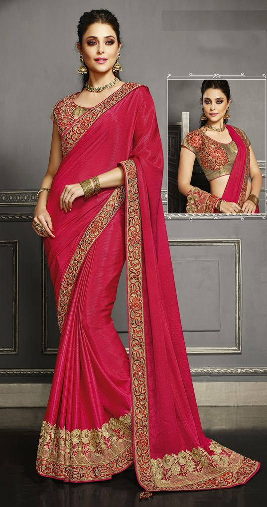 USD 84.73 Red Georgette Chiffon Party Wear Saree 47546