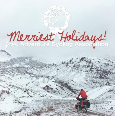 Happy holidays from Adventure Cycling Association!    Photo by Jan Ellen van der Zwan    Graphic by Rachel Stevens