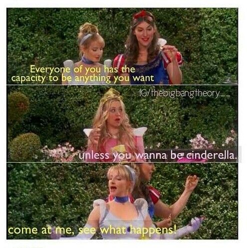 Big Bang Theory - Penny as Aurora, Bernadette as Cinderella and Amy as Snow White