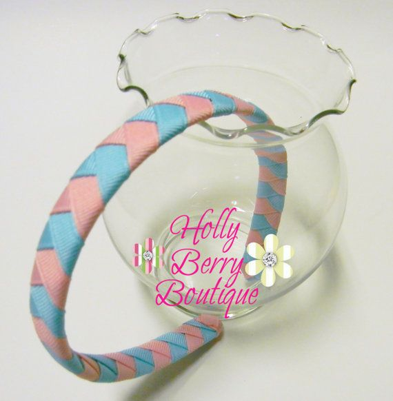 Ribbon Woven Headband Blue Pink by HollyBerryBoutique9 on Etsy