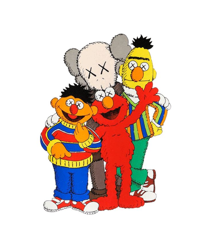 Bert Wallpaper Iphone X Kaws X Sesame Street Family Collab T Shirt In 2020 Kaws