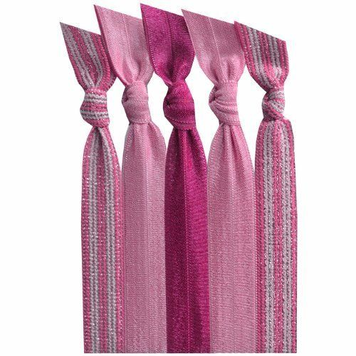 Emi-Jay Hair Tie Collection - Pink Cure 5 Pack by Emi-Jay. $11.99. Emi-Jay products should not be washed or worn in water. Hand-dyed and handmade in U.S.A. with imported material. Colors are Pink Stripe, Candy Pink, Raspberry, Candy Pink & Pink Stripe.. Each hair tie is unique so there may be slight variation in colors. Tired of traditional ponytail holders that pull and dent your hair? Emi Jay hair ties are made from a soft and stretchy material that has been hand-dyed, hand-kn...