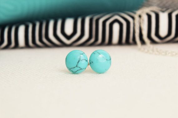 Simple 8mm earrings made with turquoise semiprecious stone. Stainless Steel Stud. Handmade. Hypoallergenic.  ................... SUMMARY  + 8mm