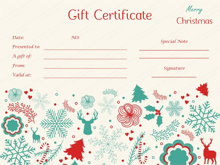 Get Beautifully Designed Delicate Christmas Gift Certificate Template From  Our Premium Certificates Collection.