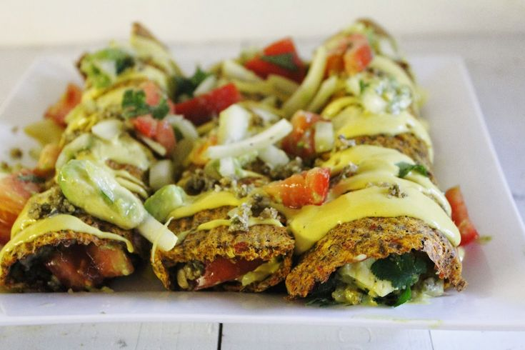 Raw Vegan Enchiladas with Chunky Salsa, Cheesy Sauce, and Spicy Nut Meat