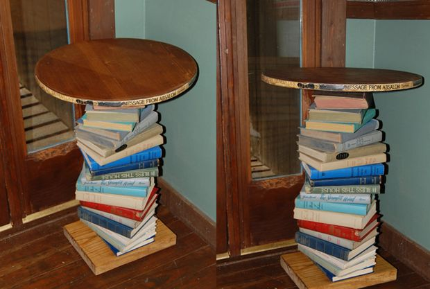 This table is handmade with old damaged books. The table is pine on top and bottom, stained and then sealed with polyurethane. The color scheme here is neutrals, blues, reds, greens, and tans. They books used for this table are vintage books from the 1920's-1970's. The top is a circular shape with the edges covered with book spines for a great look. Since this is a handmade table, the circle is not a true 100% circle, it's more of a 99% circle lol!