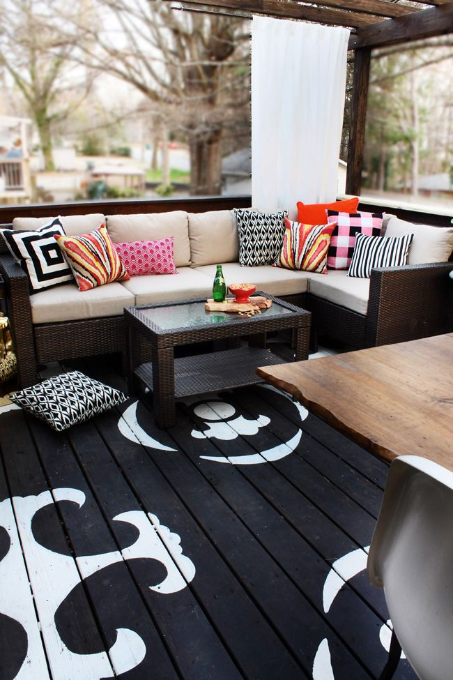 Painted Deck... The Tutorial  -  This is my favorite deck floor - maybe in the darkest navy with white railing and stencils
