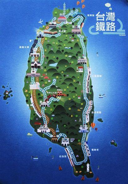 Taiwan Railway map. | Taiwan map postcards. | Pinterest ...