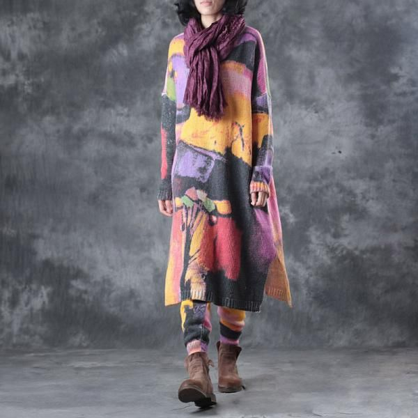 Colorful Printing Hem Slit Wool Pullover with Loose Pants    #womanstyle #suits #pullovers #pants #trousers #wool #fashion #colorful #fashion