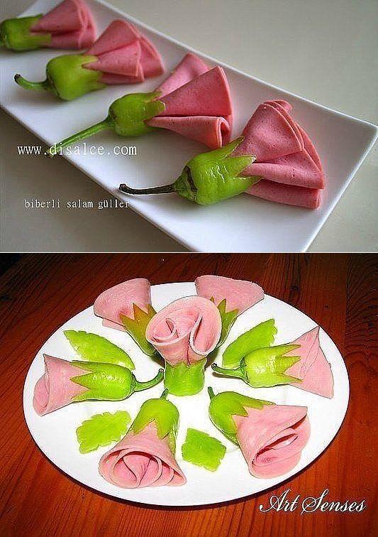 Цветы из перчиков и ветчины для украшения стола. Мастер-класс