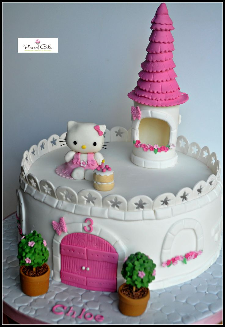 Hello Kitty Castle cake- based on tutorial from Royal Bakery