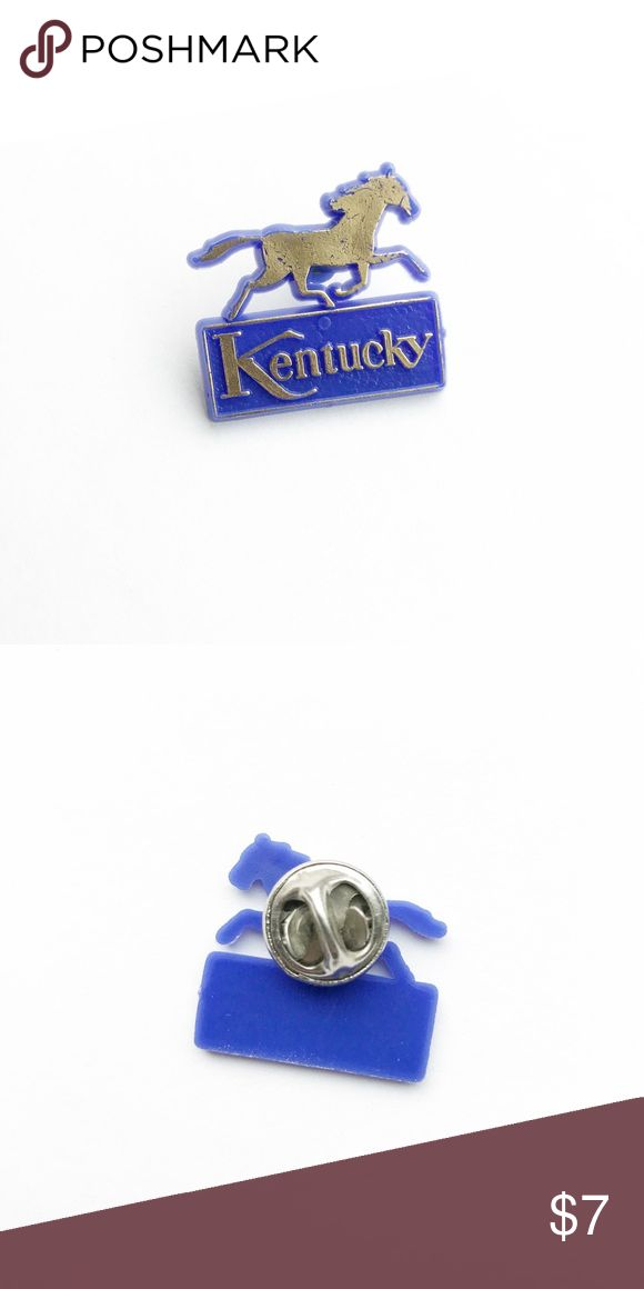 """Vintage Kentucky Pin Vintage Kentucky Pin  • genuine vintage • 1"""" x 7/8"""" • colors: blue, gold • material: plastic with metal backing • tags: state pride, horse racing • all of the pins I sell are vintage and may contain minor nicks, imperfections, or oxidation Vintage Accessories"""