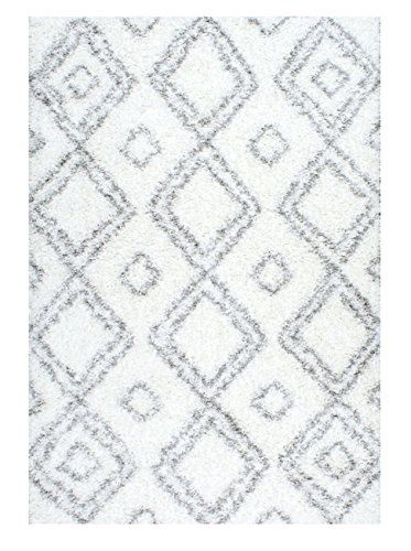 "Cozy Soft and Plush Moroccan White Shag Area Rugs, 9 Feet 2 Inches by 12 Feet (9' 2"" x 12')"