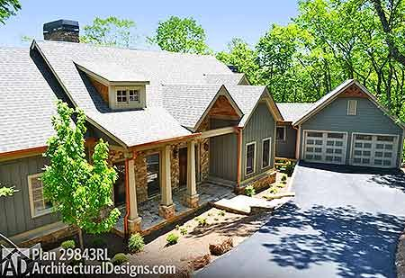 Mountain Escape with Views - 29843RL | Country, Craftsman, Mountain, Vacation, Photo Gallery, 1st Floor Master Suite, CAD Available, Den-Office-Library-Study, Media-Game-Home Theater, PDF, Split Bedrooms, Sloping Lot | Architectural Designs