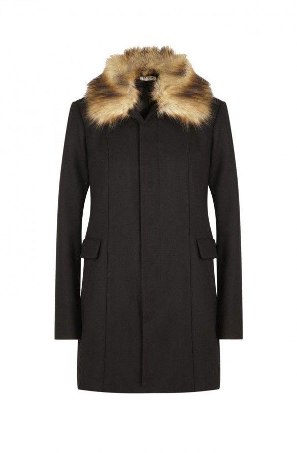 Manteau cintre col fourrure  noir - droits femme - naf naf 3