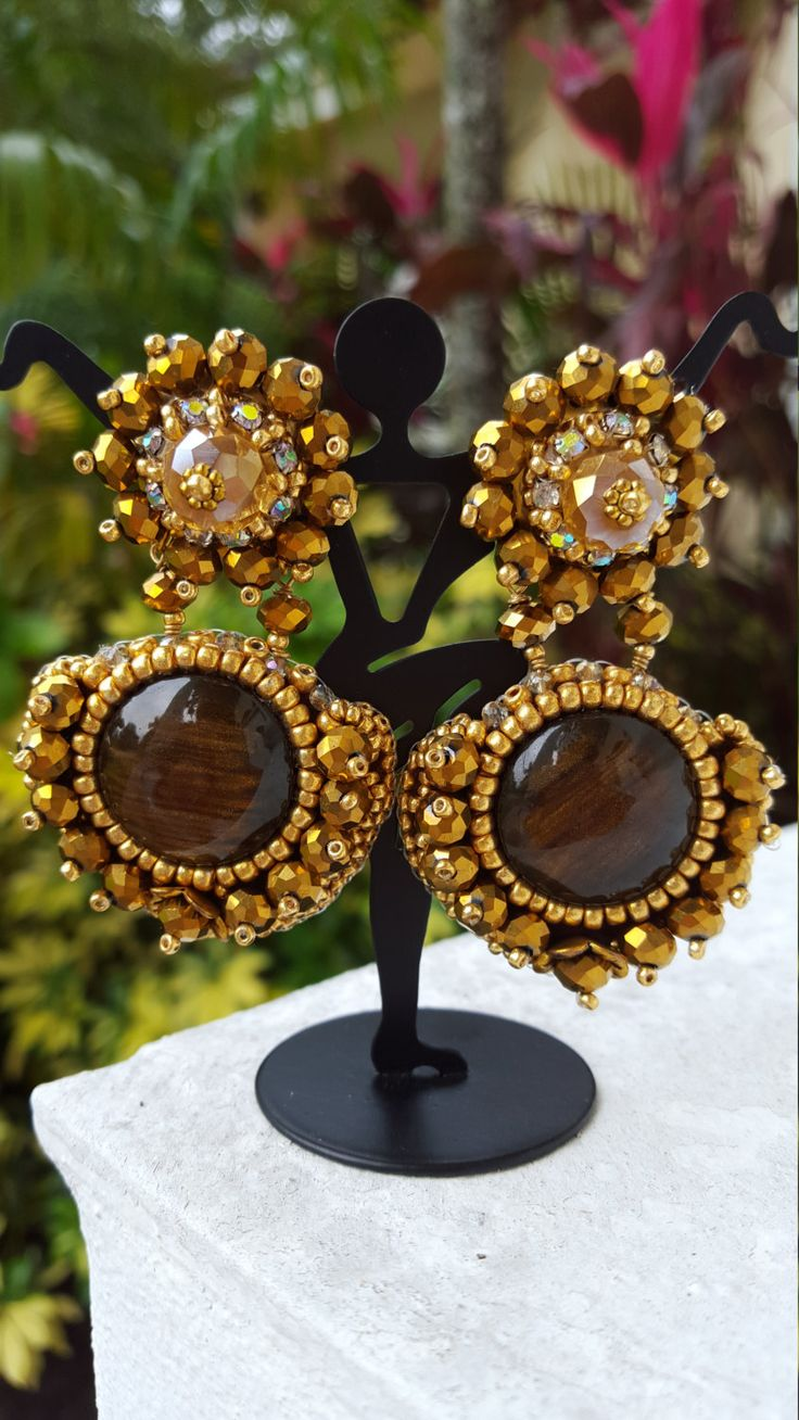 Embroidery Gold and Brown Earrings, by ChiksCollections on Etsy