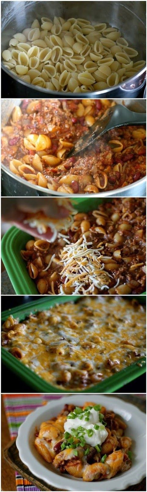 Chili Pasta Bake... Substitute ground beef for ground turkey...use whole wheat pasta...use little to no cheese