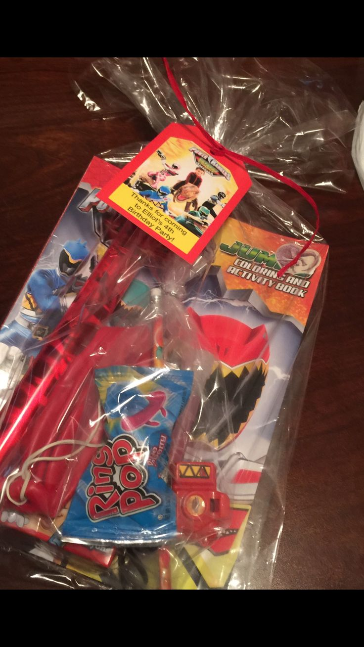 Goodie bags Power Tanger Dino Charge theme