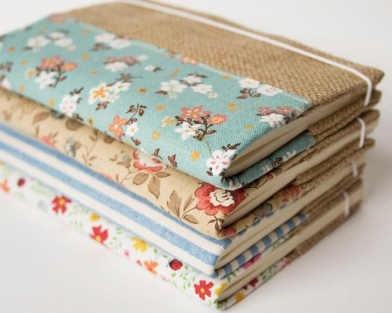 Fabric & burlap notebook cover by SeaBreezeStore