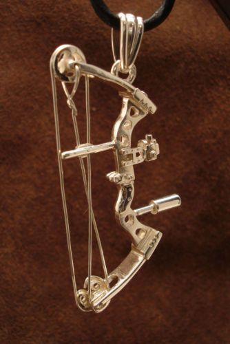 Archery Jewelry Compound Bow Pendant Silver Handmade Blackened