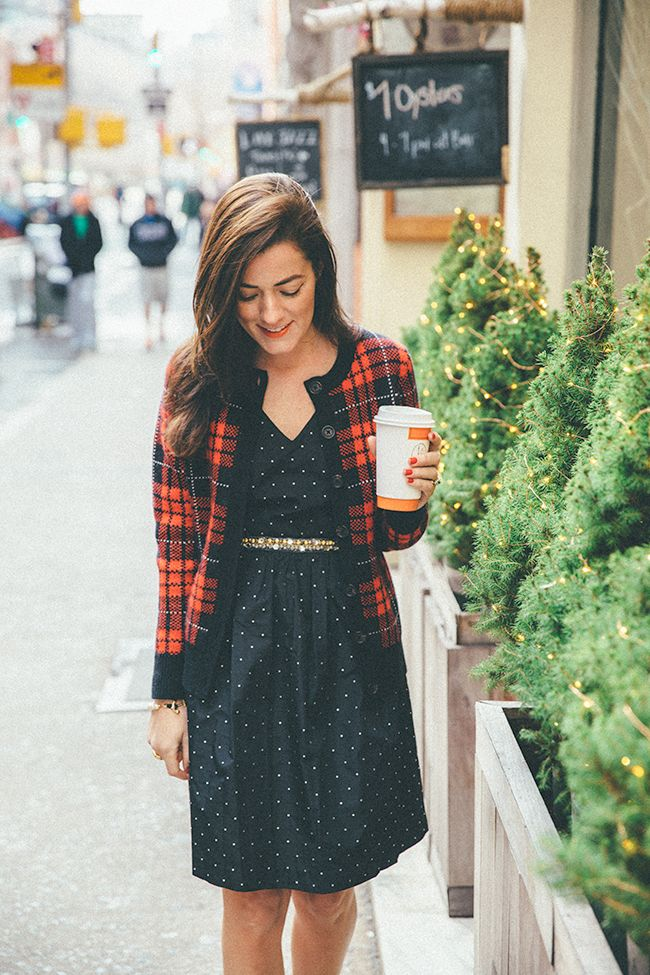 Polka dot dress and plaid cardigan, with a touch of gold || Classy Girls Wear Pearls