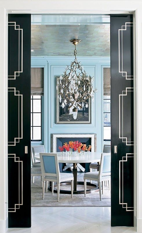 Love the colors! The baby blue with black makes the room pop!: Dining Rooms, Interior Design, Chandelier, Idea, Color, Blue, Pocket Doors, Black