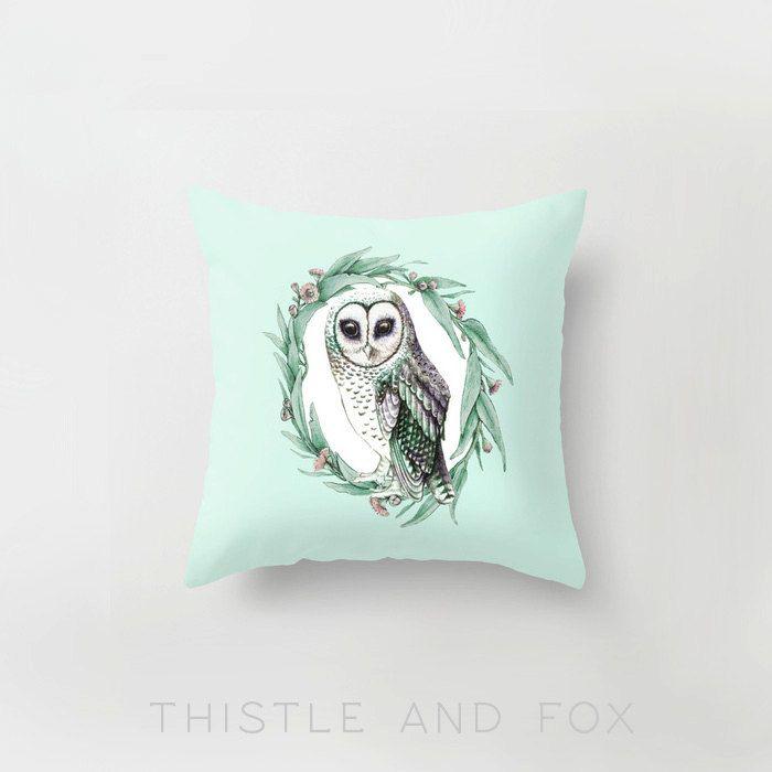 Sooty Owl on Gumleaf Wreath Pillow Slip Cushion by ThistleandFox, $30.00