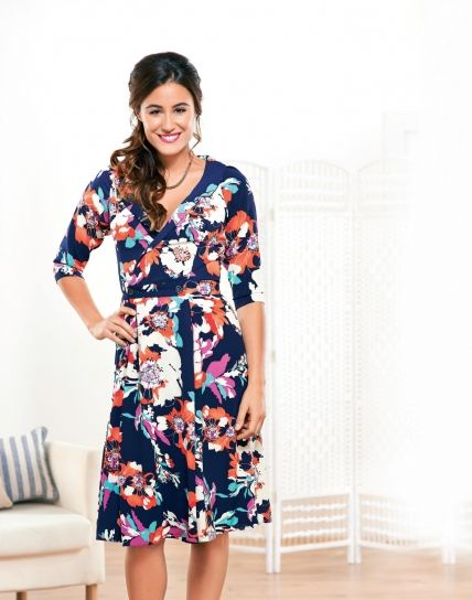 Free Pattern Wrap Dress - Floaty Floral Three Quarter Sleeved Dress