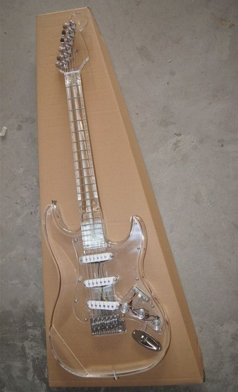 Full Transparent High Quality Customer Crystal Electric Guitar With Senior Free Fittings and Best Blue LED Light