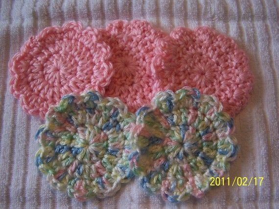 Crocheted Flower Baby Girl Scrubbies  by kayandgirlscrafts on Etsy, $2.50
