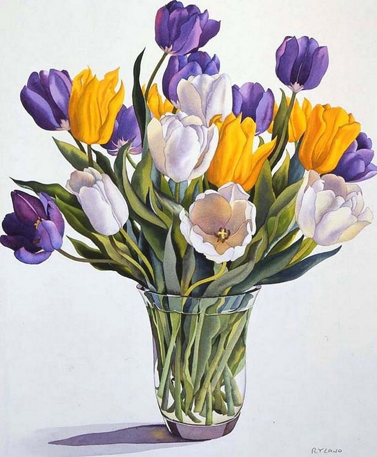 Christopher Ryland SBA (b.1951) —  Tulips in a Glass Vase  (741x900)