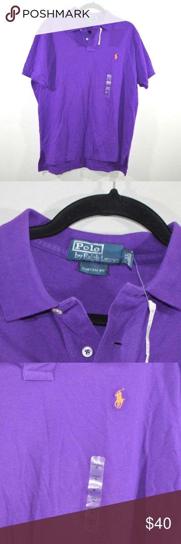 New Ralph Lauren Custom Fit Golf Polo Shirt XL Polo Ralph Lauren Custom Fit Golf Shirt  Excellent shirt  New  Purple with an Orange Pony logo  The size is XL and the measurements are 24 inches underarm to underarm and 28.5 inches top to bottom  Cotton  Check out my other items for sale!  GreenTub Polo by Ralph Lauren Shirts Polos