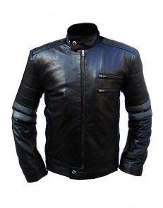 Black Leather Jacket Men's Black Grey Stripes Mens Motorcycle  Leather Jacket