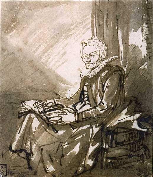 Музей Бойманса-ван Бёнингена Роттердам (fb2) | Либрусек  Рембрандт Харменс ван Рейн (1606–1669) Сидящая женщина с открытой книгой на коленях. Около 1639. Бумага, коричневая тушь. 12,6x11