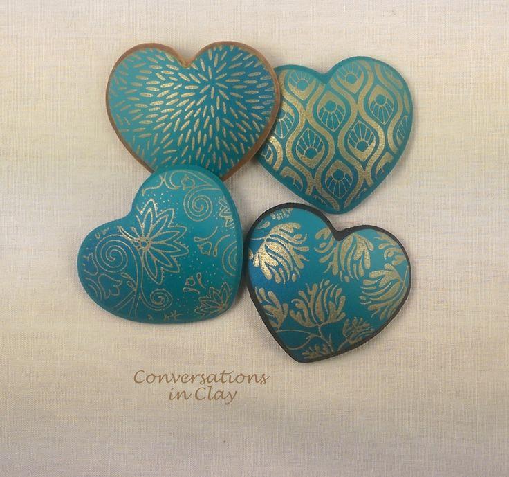Turquoise Hearts - Silk Screened PC