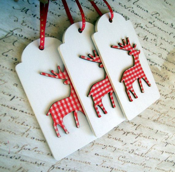 3 rustic wood Christmas gift tags/ornaments, with red & white gingham wooden reindeer Tags are plain white on reverse. They can be written on with an
